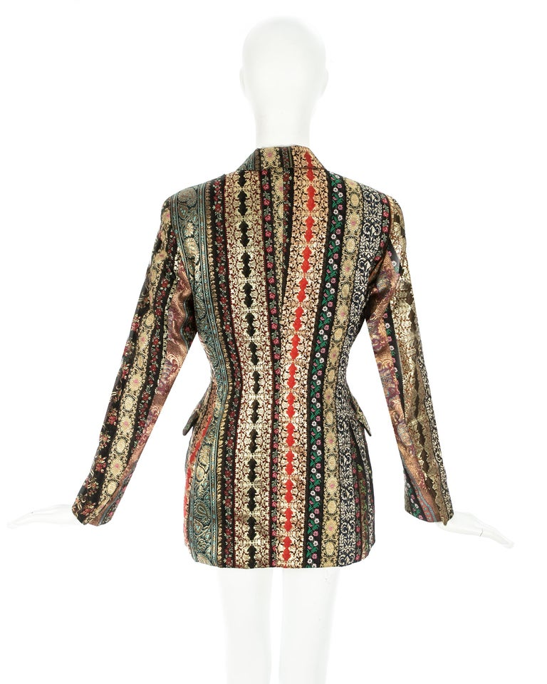 Dolce & Gabbana gold lame brocade double breasted evening blazer, ss 1993 For Sale 4