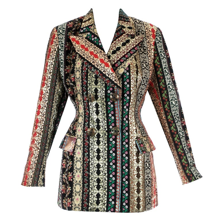 Dolce & Gabbana gold lame brocade double breasted evening blazer, ss 1993 For Sale