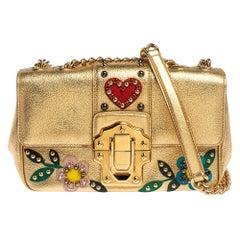 Dolce & Gabbana Gold Leather Lucia Embellished Shoulder Bag