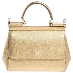 Dolce & Gabbana Gold Leather Small Miss Sicily Top Handle Bag