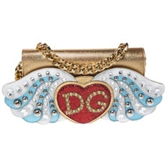 Dolce & Gabbana Gold Leather The Lovers Evening Chain Clutch