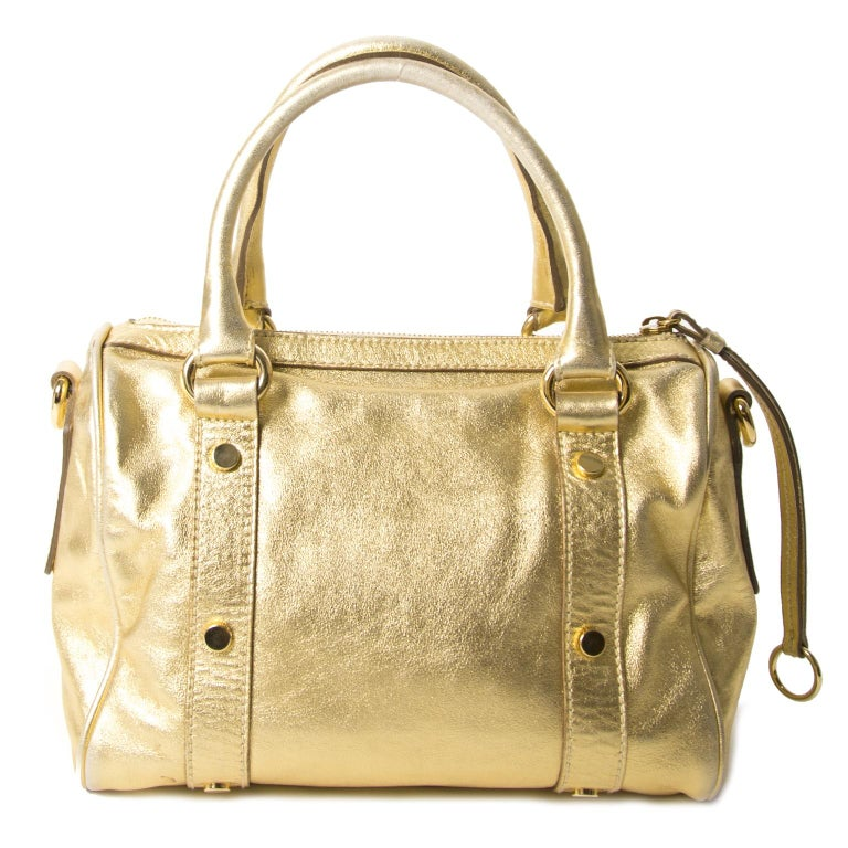 Dolce & Gabbana Gold Metallic Speedy Bag In Fair Condition For Sale In Antwerp, BE
