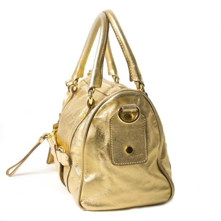 Women's Dolce & Gabbana Gold Metallic Speedy Bag For Sale