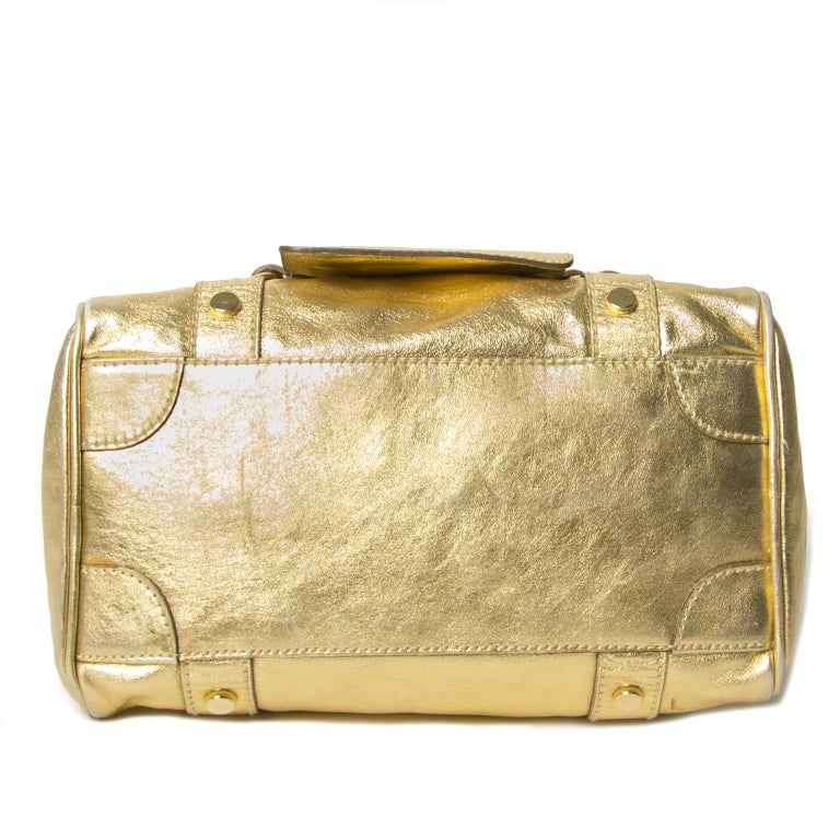 Dolce & Gabbana Gold Metallic Speedy Bag For Sale 1