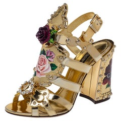 Dolce & Gabbana Gold Patent And Leather Mordore Embellished Sandals Size 37