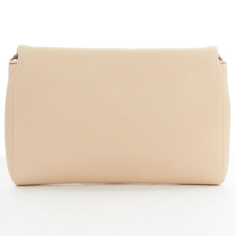 DOLCE GABBANA gold roman coin flap front tan leather clutch crossbody small bag In Excellent Condition For Sale In Hong Kong, NT