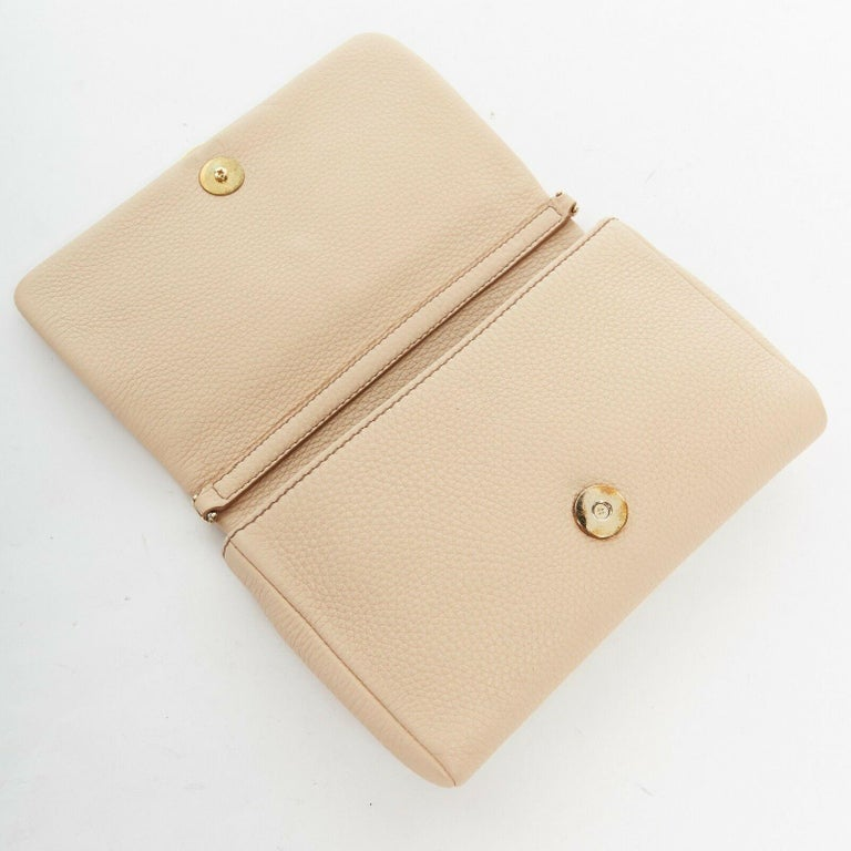 DOLCE GABBANA gold roman coin flap front tan leather clutch crossbody small bag For Sale 2