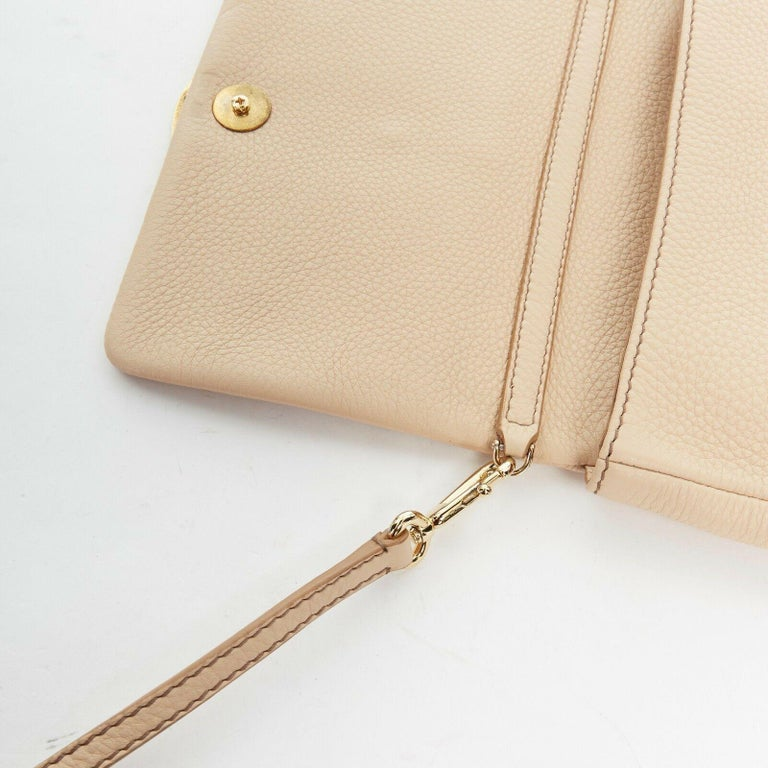 DOLCE GABBANA gold roman coin flap front tan leather clutch crossbody small bag For Sale 4