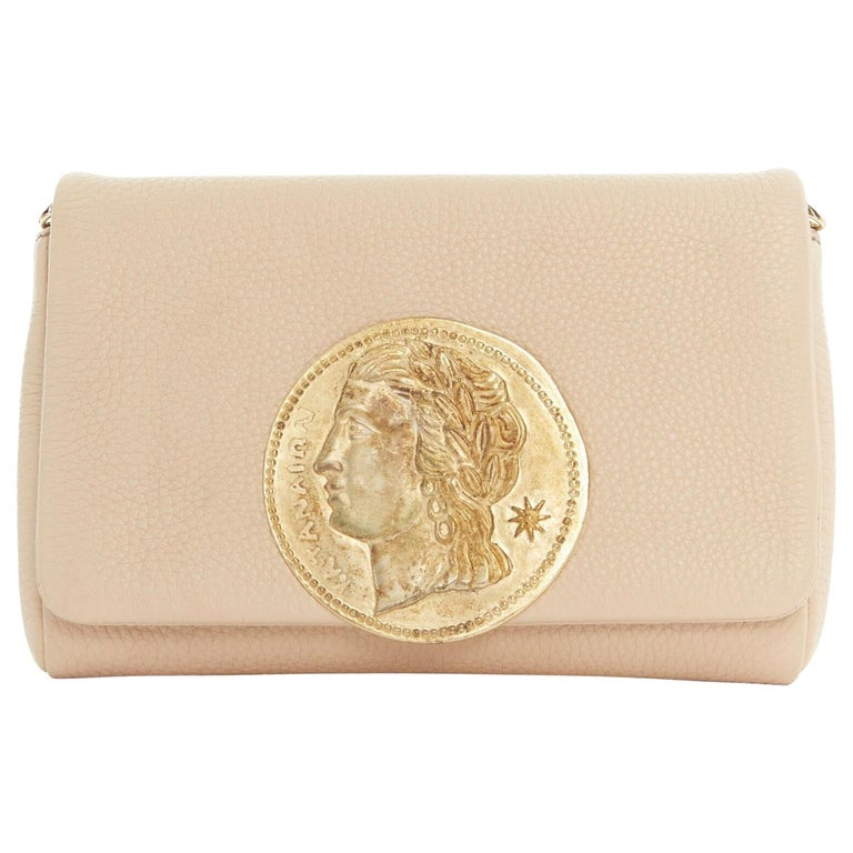 DOLCE GABBANA gold roman coin flap front tan leather clutch crossbody small bag For Sale