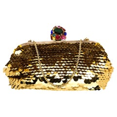 Dolce & Gabbana Gold Sequin Crystal Embellished Lock Frame Chain Clutch