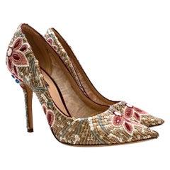 Dolce & Gabbana Gold Sequin Embellished Leather Pumps - Size 38.5