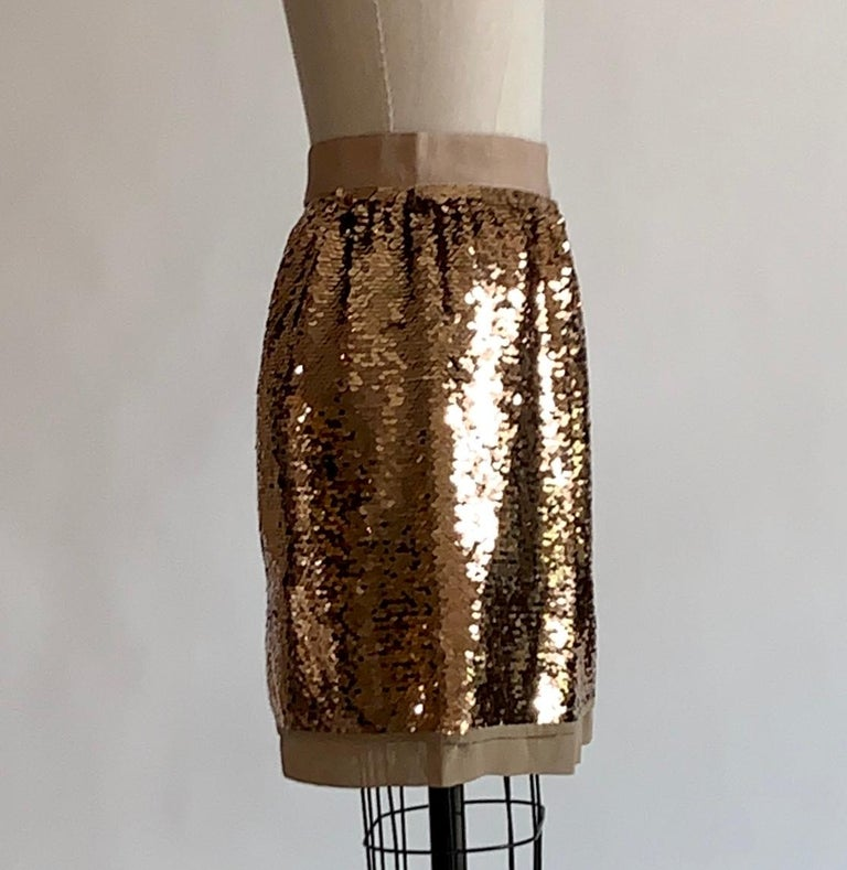 Brown Dolce & Gabbana Gold Sequin Skirt New with Tags For Sale