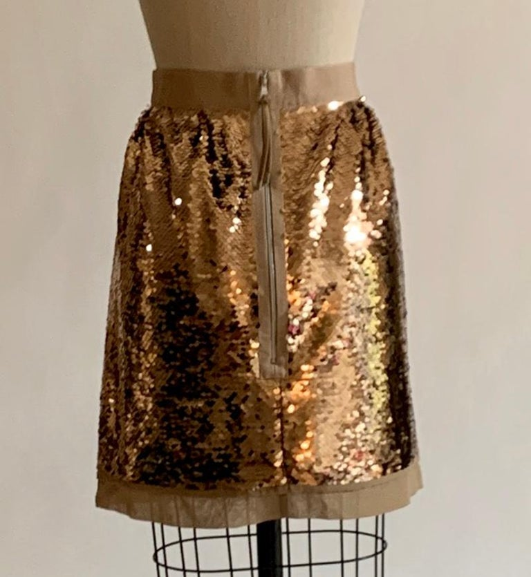 Dolce & Gabbana Gold Sequin Skirt New with Tags In New Condition For Sale In San Francisco, CA
