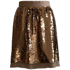 Dolce & Gabbana Gold Sequin Skirt New with Tags