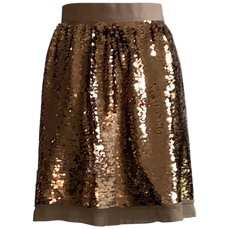 Dolce & Gabbana Gold Sequin Skirt New with Tags For Sale