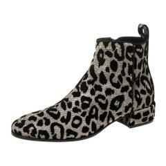 Dolce & Gabbana Gold/Silver Animal Print Lurex Fabric Boots Size 38