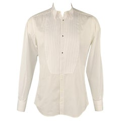 DOLCE & GABBANA Gold Size L White Cotton Tuxedo Long Sleeve Shirt