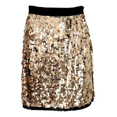 Dolce Gabbana Golden Sequins Silk Charleston Short Evening Skirt 2000s