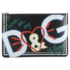 Dolce & Gabbana Graffiti Zip Pouch Printed Leather Medium