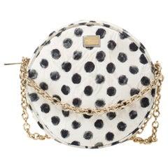 Dolce & Gabbana Graphic Polka Dot Fabric Brocade Round Glam Crossbody