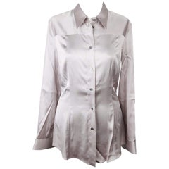 DOLCE & GABBANA Gray Satin BUTTON DOWN SHIRT