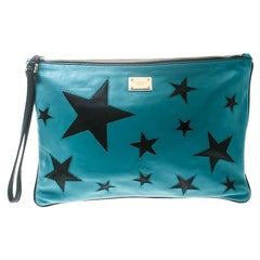 Dolce & Gabbana Green/Black Leather Star Detail Clutch