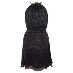 Dolce & Gabbana Green & Black Silk Leopard Print w/ Flower Ornament Dress 44 EU