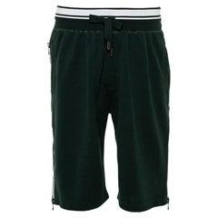 Dolce & Gabbana Green Cotton Knit Side Zipper Detail Bermuda Shorts M