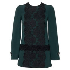 Dolce & Gabbana Green Crepe Lace Detail Long Sleeve Tunic XS