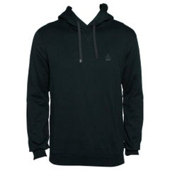 Dolce & Gabbana Green Crown Embroidered Cotton Hoodie L