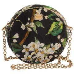 Dolce & Gabbana Green Floral Print Fabric Miss Glam Round Shoulder Bag