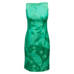 Dolce & Gabbana Green Floral Sheath Dress