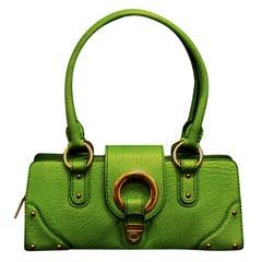 8ab65d8df4 Dolce & Gabbana Green Grain Leather Top Handle Bag W/ Gold Tone Hardware