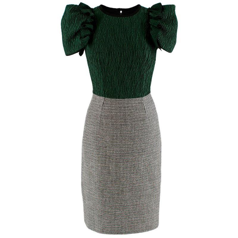 Dolce & Gabbana Green & Grey Houndstooth Knit Dress - Size US 0-2