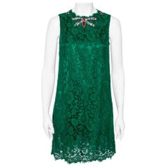 Dolce & Gabbana Green Lace Dragonfly Embellished Sleeveless Shift Dress S