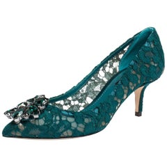 Dolce & Gabbana Green Lace Jeweled Embellishment Pointed Toe Pumps Size 38.5