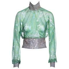 Dolce & Gabbana green paisley silk blouse with rhinestone mesh, ss 2000