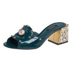 Dolce & Gabbana Green Patent Leather Embellished Slide Sandals Size 36