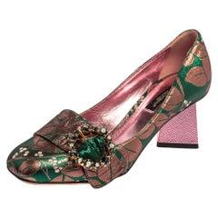 Dolce & Gabbana Green/Pink Brocade Fabric Embellished Block Heel Pumps Size 36