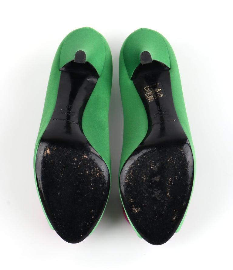 DOLCE & GABBANA Green Pink Satin Rosette Flower Peep Toe Platform Pumps For Sale 6