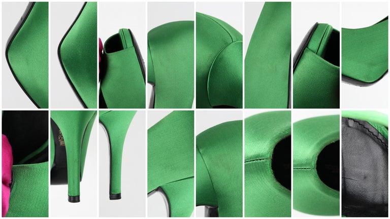 DOLCE & GABBANA Green Pink Satin Rosette Flower Peep Toe Platform Pumps For Sale 8