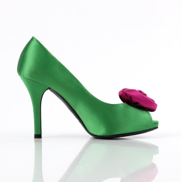 DOLCE & GABBANA Green Pink Satin Rosette Flower Peep Toe Platform Pumps For Sale 1