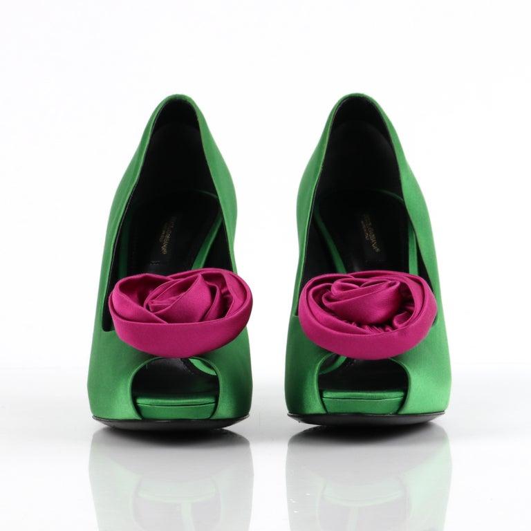 DOLCE & GABBANA Green Pink Satin Rosette Flower Peep Toe Platform Pumps For Sale 3