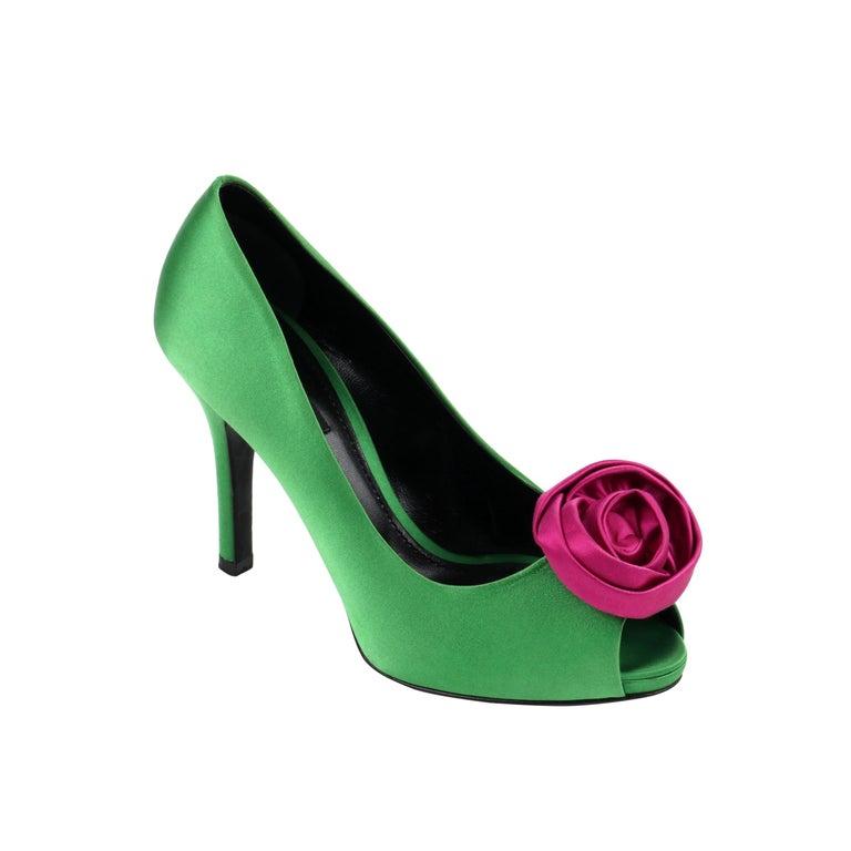 DOLCE & GABBANA Green Pink Satin Rosette Flower Peep Toe Platform Pumps For Sale