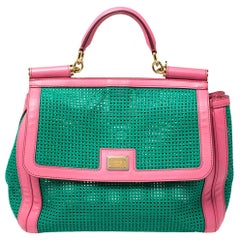 Dolce & Gabbana Green/Pink Woven Raffia and Leather Large Miss Sicily Top Handle