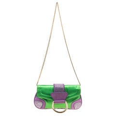 Dolce & Gabbana Green/Purple Satin and Suede Crystal Studded Chain Pochette