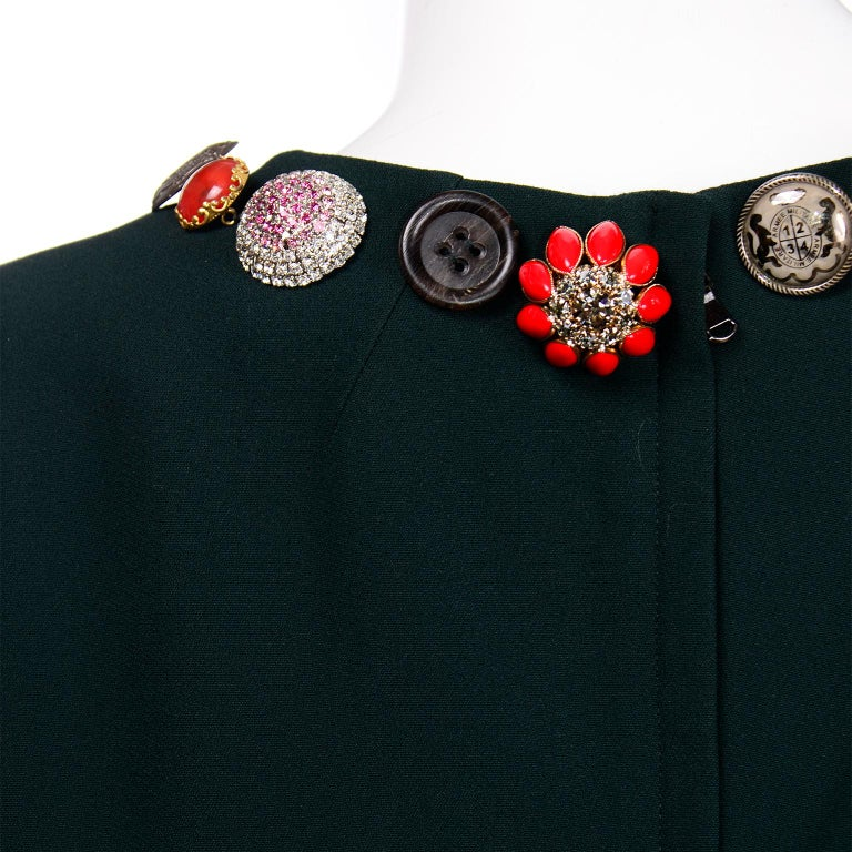Dolce & Gabbana Green Ruffled Dress With Decorative Button Trim For Sale 6