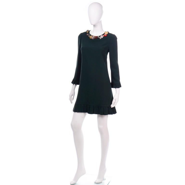 Black Dolce & Gabbana Green Ruffled Dress With Decorative Button Trim For Sale