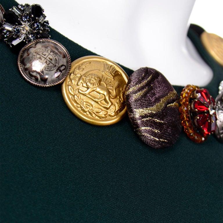 Women's Dolce & Gabbana Green Ruffled Dress With Decorative Button Trim For Sale