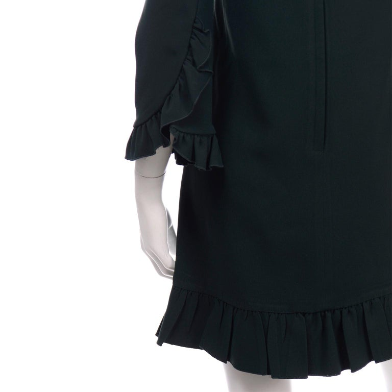 Dolce & Gabbana Green Ruffled Dress With Decorative Button Trim For Sale 1